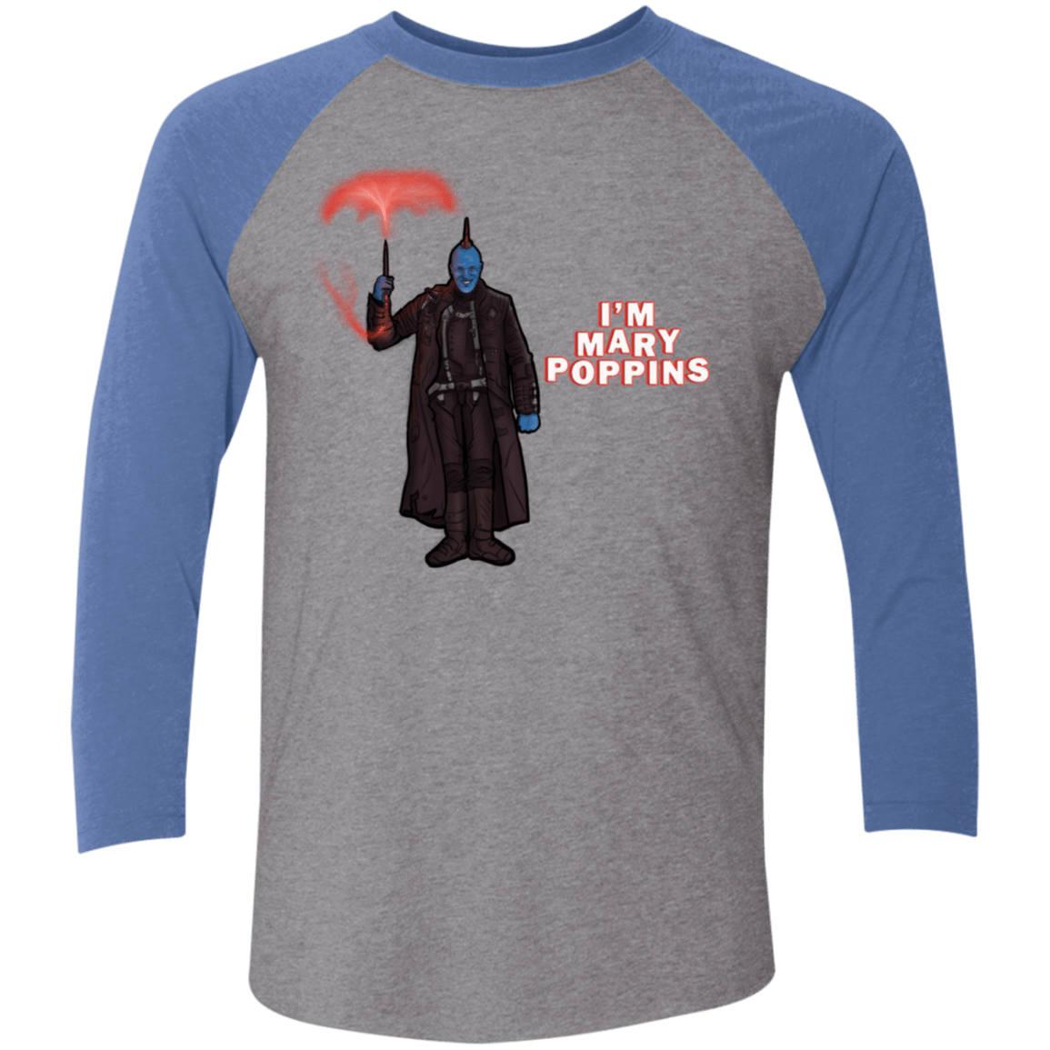 T-Shirts Premium Heather/Vintage Royal / X-Small Yondu Poppins Men's Triblend 3/4 Sleeve