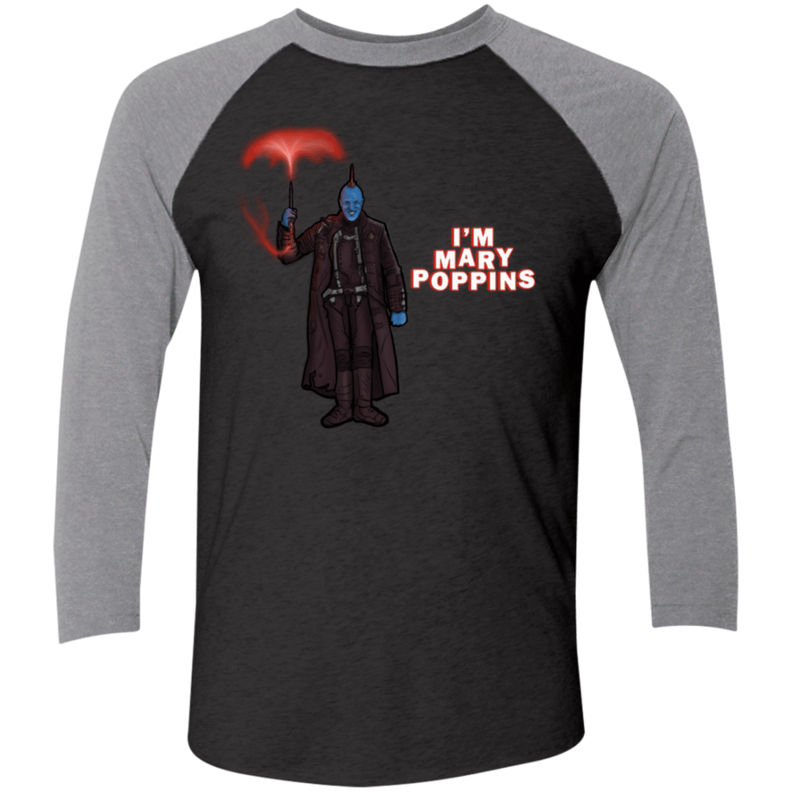 T-Shirts Vintage Black/Premium Heather / X-Small Yondu Poppins Men's Triblend 3/4 Sleeve