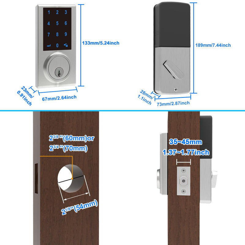 Keypad Touchscreen Deadbolt Lock with Z-Wave, Compatible with Hubs - signstek
