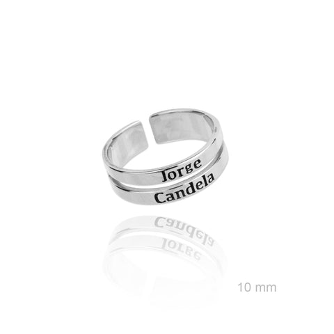 Anillo Doble Name Silver