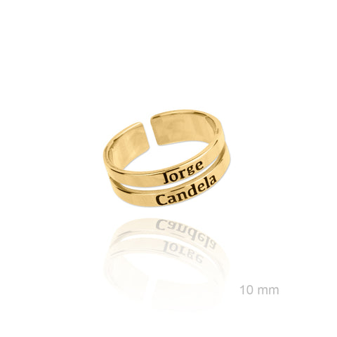 Anillo Doble Name Gold