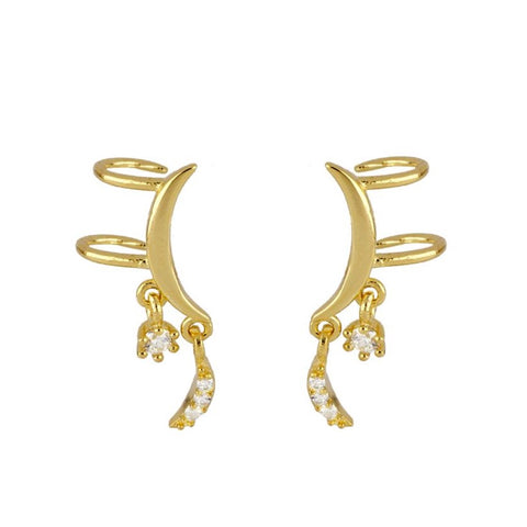 Pendientes Ear Cuff Moon Gold