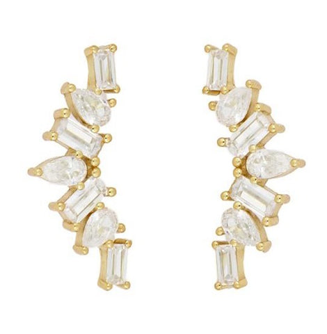 Pendientes Trepadores Gold Light White