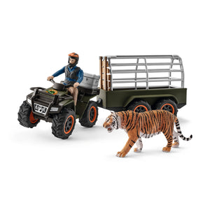 Quad bike with trailer and ranger
