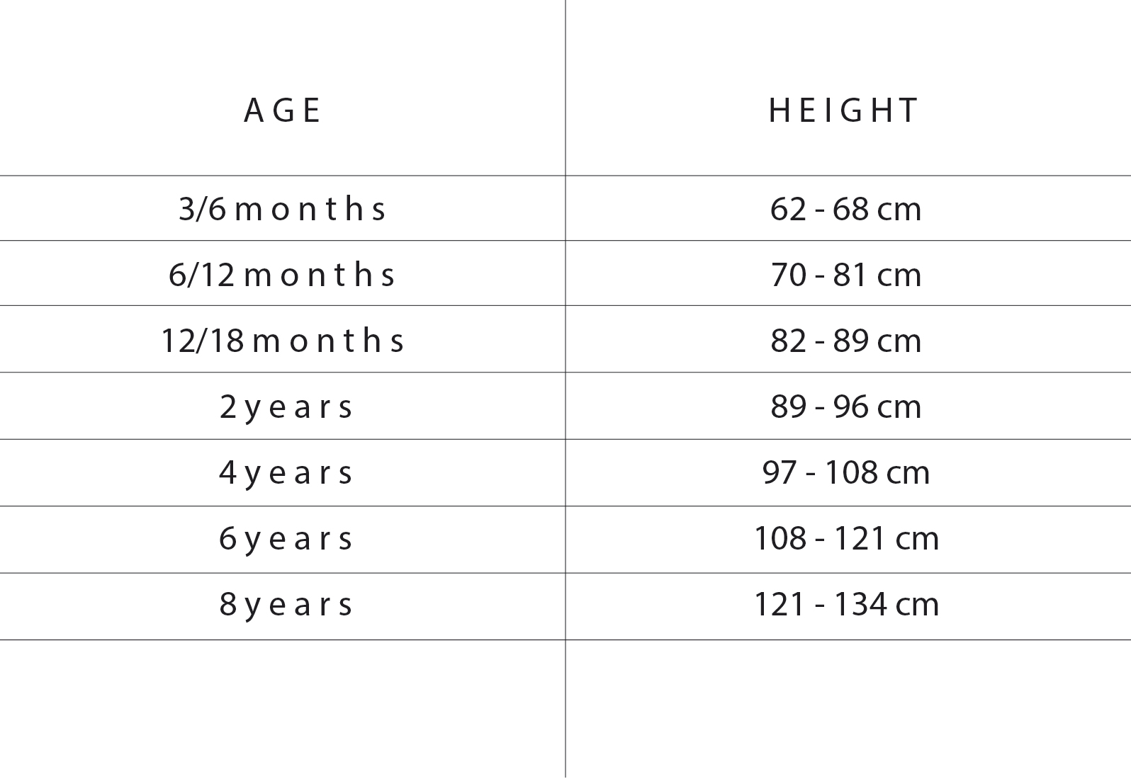 tiny cottoons size chart
