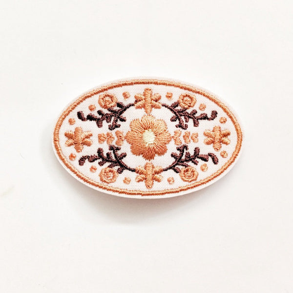 Flowery Embroidered Hair Clip - Pale Pink
