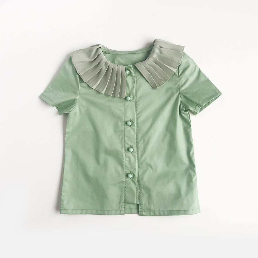 Mes Kids Des Fleurs :: Pleated Collar Shirt Green