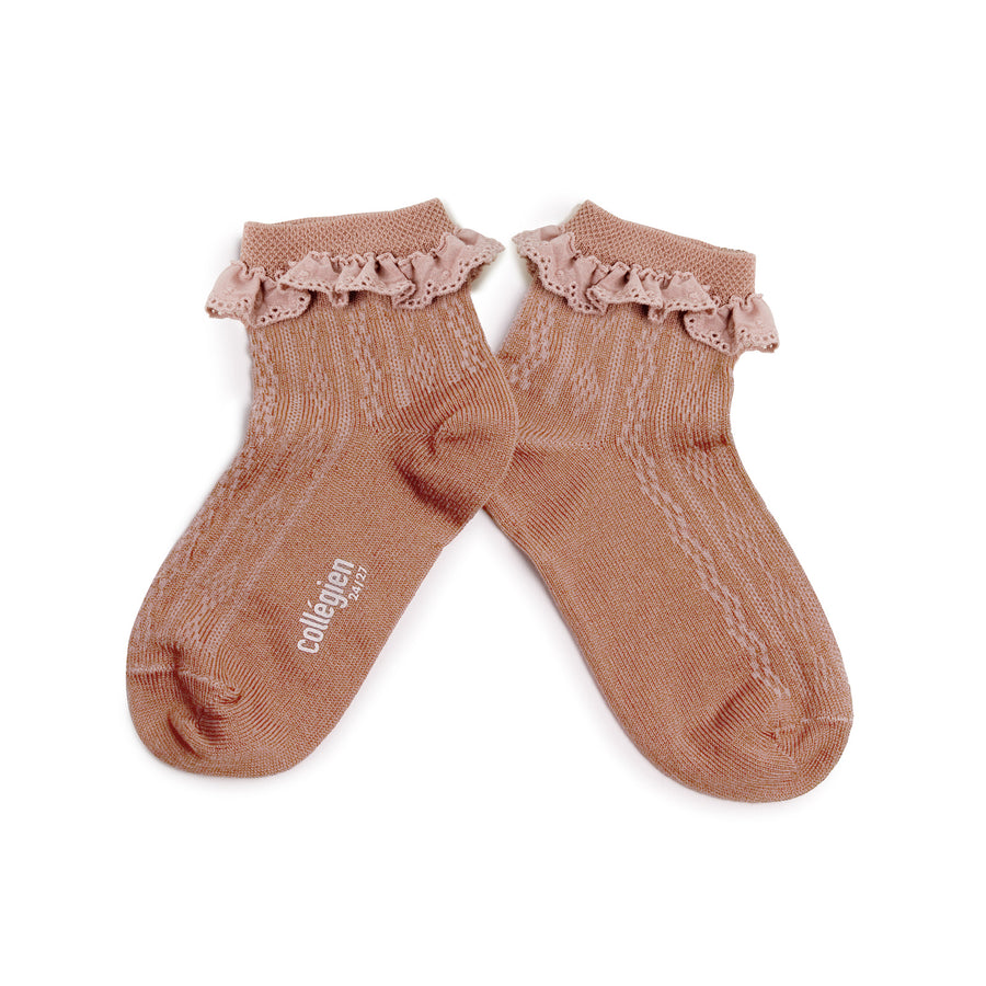 Collegien :: Lightweight Pointelle Socks With Broderie Anglaise - Vieux Rose
