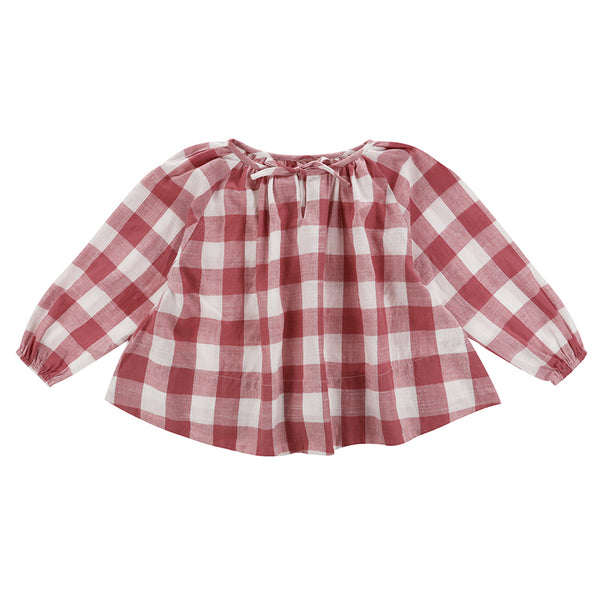 Olive Smock Textured Gingham In Mulberry