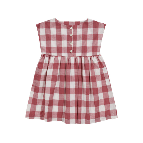 Verity Dress Textured Gingham In Mulberry