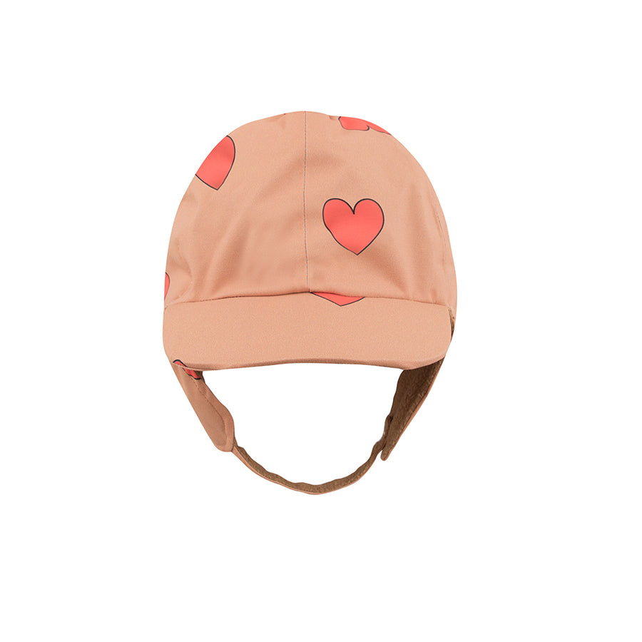 Tiny Cotton :: Hearts Snow Hat Tan/Red