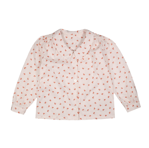 Edith Collared Blouse - Petal Floral In Rust