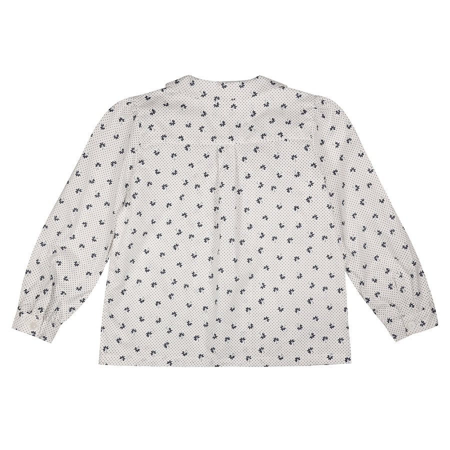 Little Cotton Clothes :: Edith Collared Blouse - Petal Floral In Midnight Blue