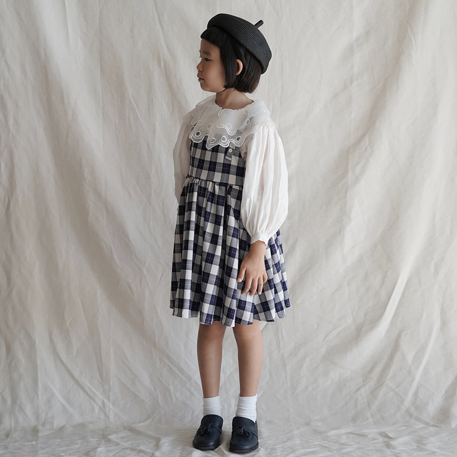 Mes Kids Des Fleurs :: Plaid Print Dress Navy