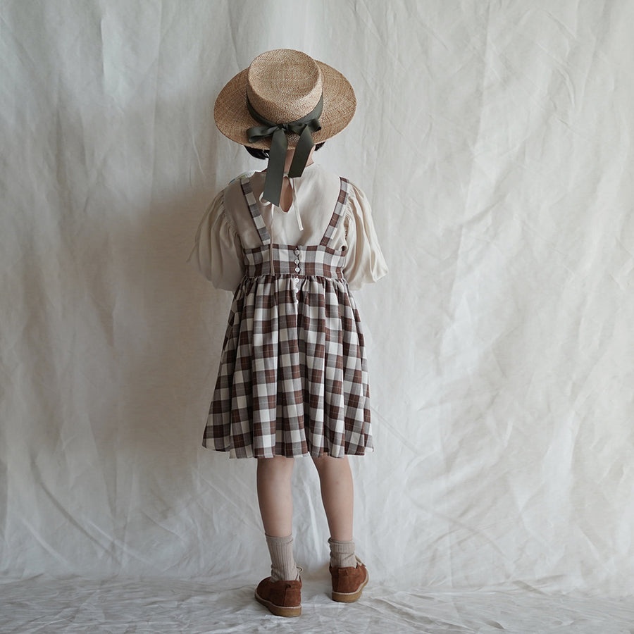 Mes Kids Des Fleurs :: Plaid Print Dress Brown