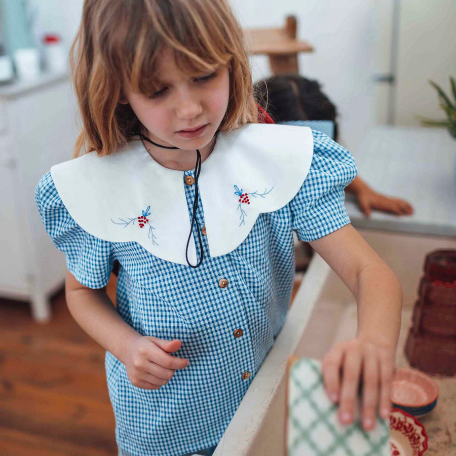 Birinit Petit :: Blue Gingham Shirt With Embroidered Collar