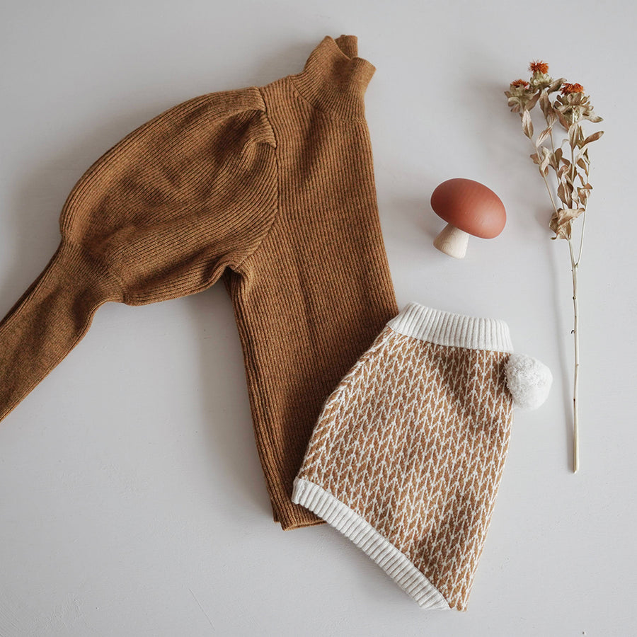 Mes Kids Des Fleurs :: Puff Sleeve Sweater Pumpkin (10월초배송)