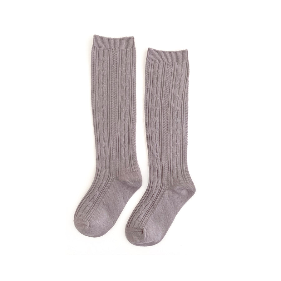 Little Stocking :: Dove Cable Knit Knee Highs