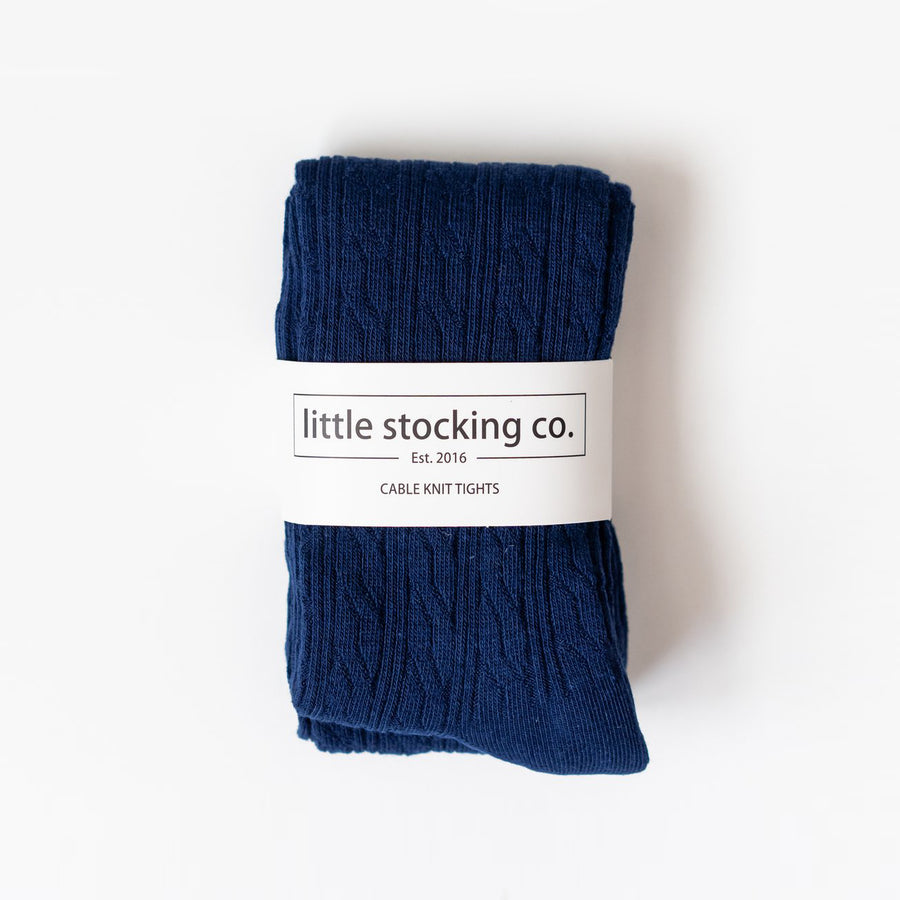 Little Stocking Co :: Navy Cable Knit Tights