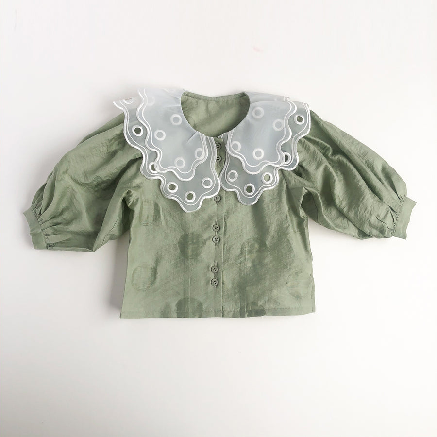 Mes Kids Des Fleurs :: Lace Collar Shirt Green