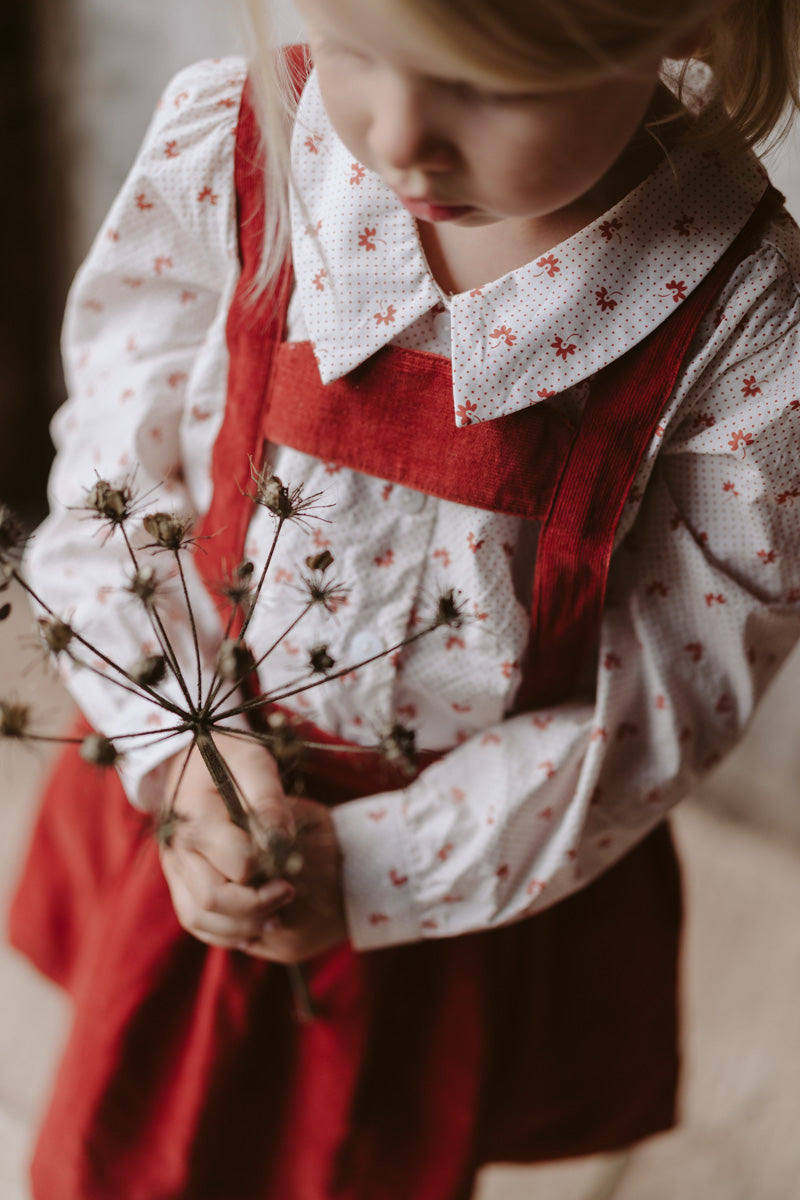 Little Cotton Clothes :: Edith Collared Blouse - Petal Floral In Rust