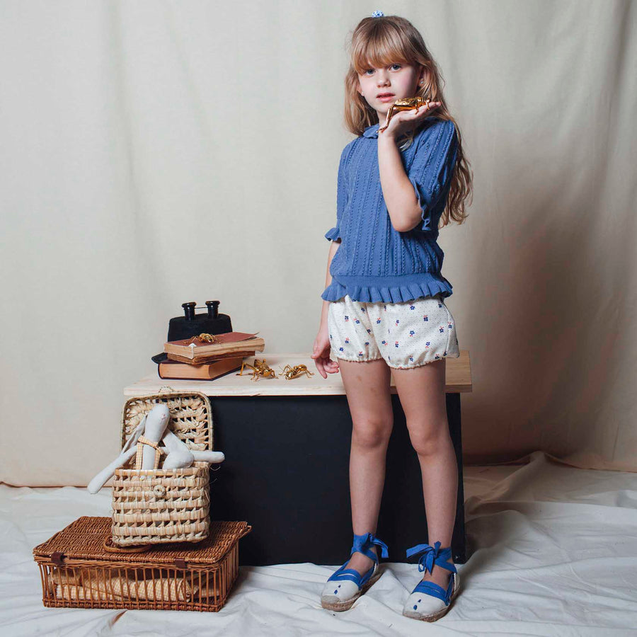 Birinit Petit :: Ecru Espadrilles With Blue Ribbon