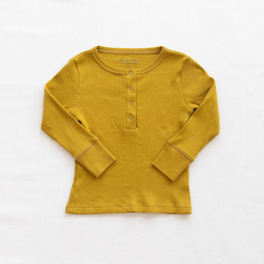 Fin And Vince :: Waffle Henley Fall Colors Chartreuse