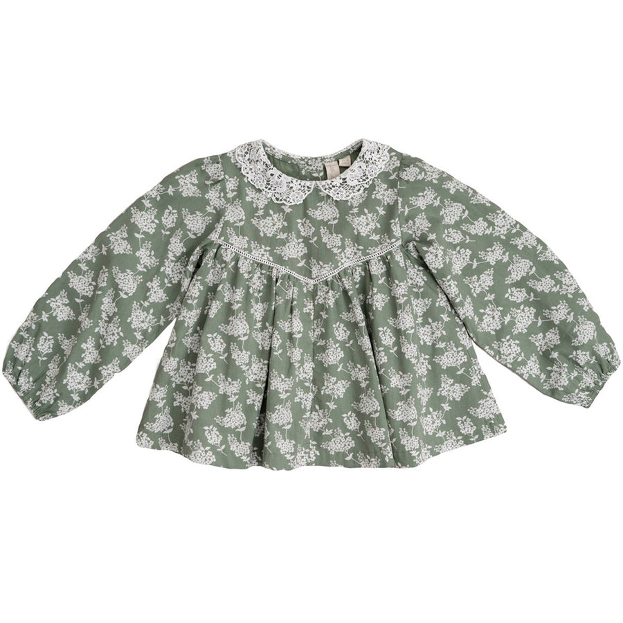Little Cotton Clothes :: Marcie Blouse Green Hydrangea Floral