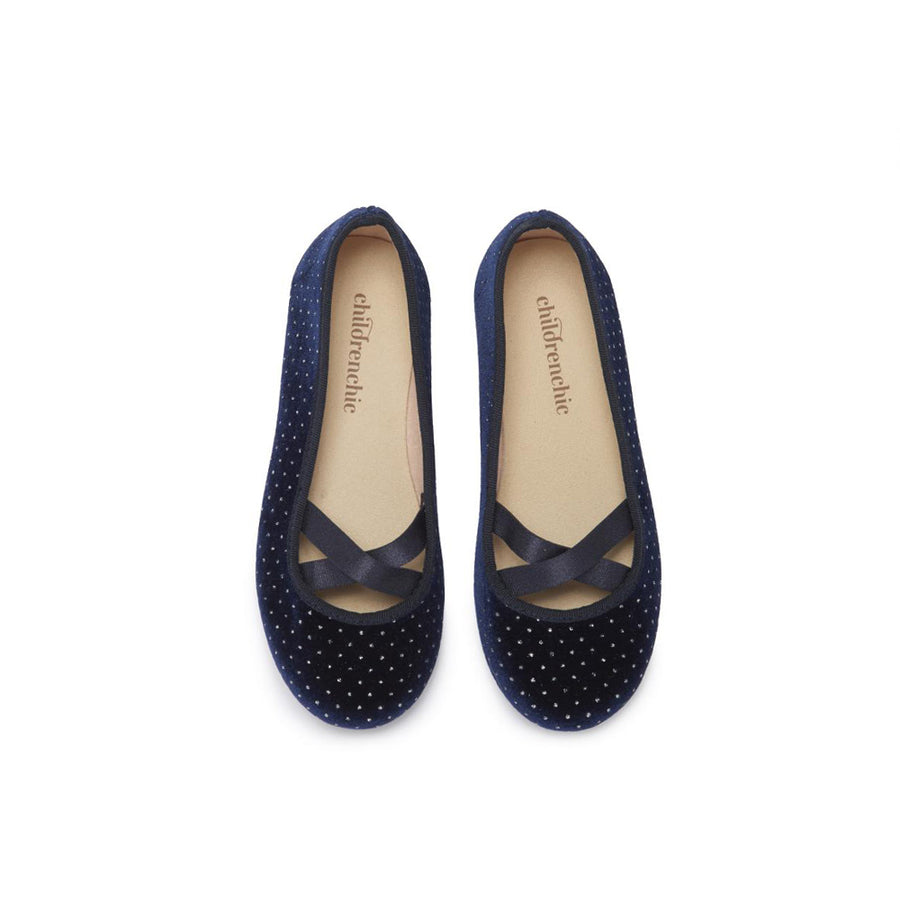 Childrenchic :: Criss-Cross Navy Velvet Ballet Flats