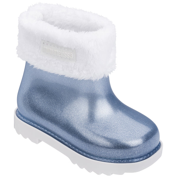 Rain Boot White Blue