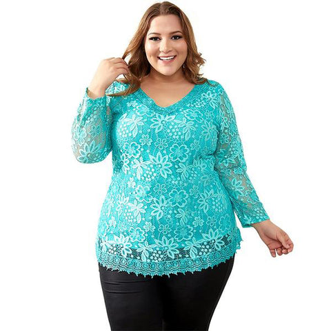 Plus Size Big Yards Tops Femme Elegant Floral Lace T-shirt Elastic Cotton Tee Shirts 6XL 7XL 8XL H009