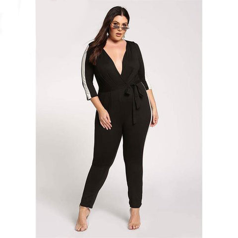 Plus Size V Neck Jumpsuit Women Seven Sleeve Stripe Fit Romper Spring New Sexy Black OL Jumpsuits Oversize XL-5XL
