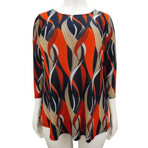 Plus Size Print T-shirt Women Elegant Bohemian Orange O Neck Ladies Three Quarter Sleeve Loose Top Shirts Casual T-shirt H105
