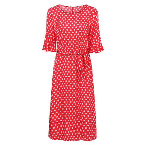Romacci Vintage Polka Dot Print Loose Dress O Neck Tie Waist Flare Half Sleeve Plus Size Summer Dress 5XL Beach Bohemian Dress