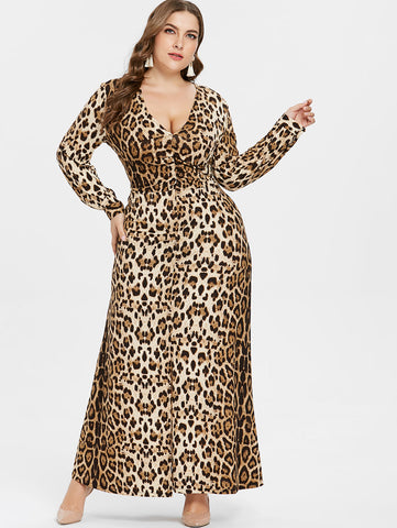 Plus Size Sexy V Neck Leopard Dress Women Long Sleeves Ankle-Length Dress Casual Autumn Ladies Clothes Big Size