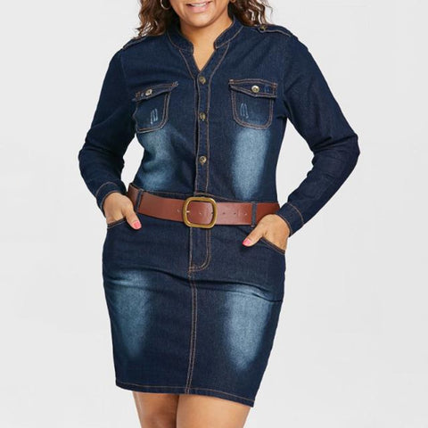 Plus Size 5XL Fitted Denim Jean Dress With Belt Women Sheath Stand Collar Long Sleeves Dresses Vestidos Causal Dress