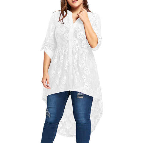 Women Plus Size Blouse Autumn Peplum Long Sleeve High Low Lace Shirts Tunic Through Button Up Women Tops And Blouse 5XL