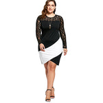 Rosegal Plus Size Lace Panel Asymmetric Dress Sexy Lace Bodycon Dress Women Dresses Black White Long Sleeve Mini Vestido 2018