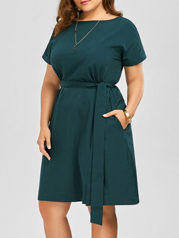 Plus Size Belted Knee Length Dress With Pockets Women Clothes Summer 2019 Sexy O Neck Dress Vintage Office Work Wear