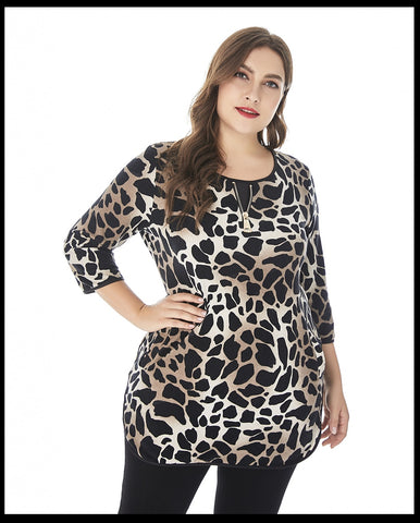 2019 Plus Size Ladies animal print t-shirt Fashion Vintage graphic tees sexy mom tops and blouses