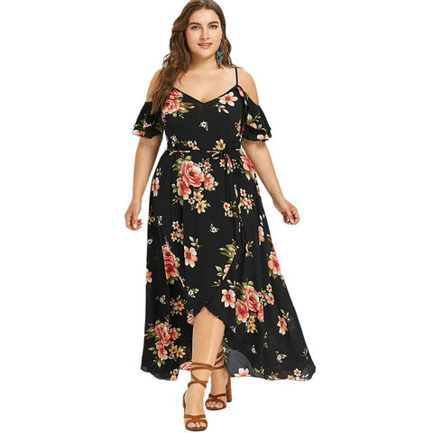 Women Summer Plus Size 5XL Cold Shoulder Floral Overlap Dress Spaghetti Strap Half Sleeves Floral Print Beach Dress Robe