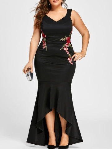 Embroidery Roses Mermaid Plus Size 5XL Dress Maxi Sexy Black Tank V Neck Long Elegant Party Female Dress Evening Wear