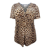 Women Tops Summer Sexy V Neck Ruched Leopard Print Tunic Ladies Short Sleeve Top T-shirt Casual Shirts M-8XL H087