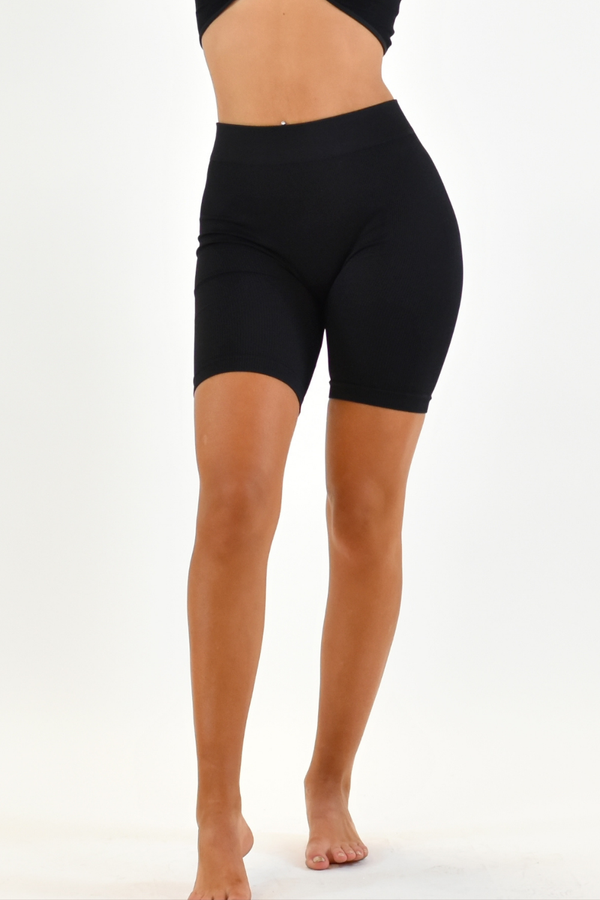 The Sweat Store exclusive MY BASIC BIKER SHORTS - Black  - The Sweat Store