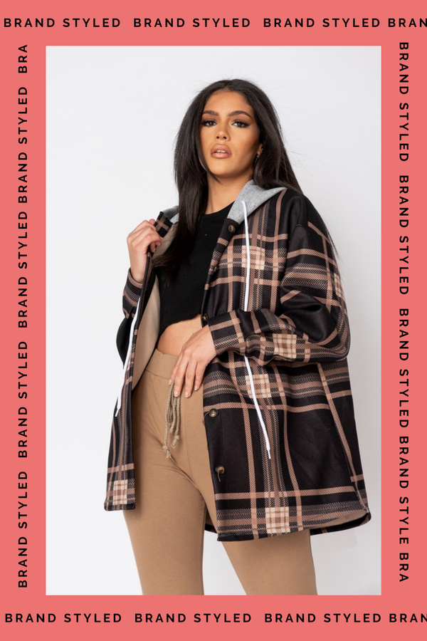 The Sweat Store exclusive CHECKED OVERSIZE HOODED JACKET - Black  - The Sweat Store