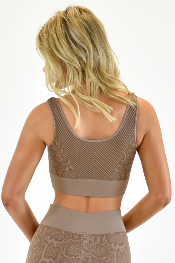 The Sweat Store exclusive SLITHER BRA TOP - Taupe  - The Sweat Store