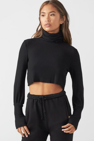 Joah Brown CROPPED TURTLENECK SWEATER - Black Rib Sweater Knit  - The Sweat Store