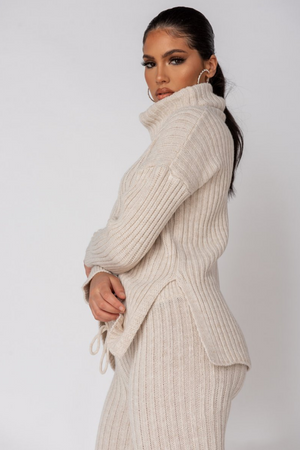 The Sweat Store exclusive COZY TIME KNIT ROLL TOP - Beige  - The Sweat Store