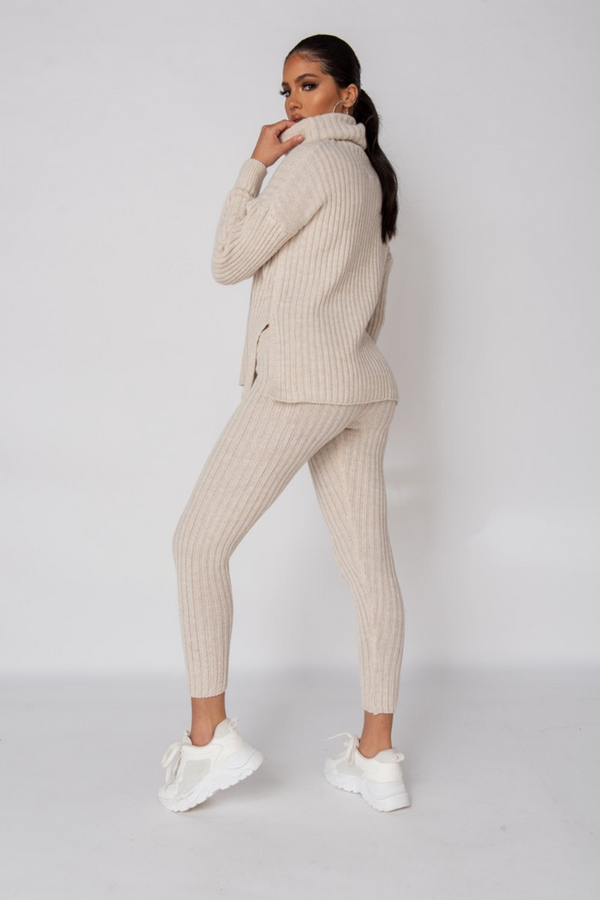 The Sweat Store exclusive COZY TIME KNIT JOGGER - Beige  - The Sweat Store