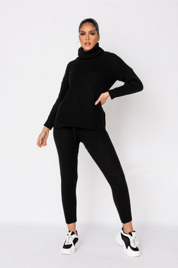 The Sweat Store exclusive COZY TIME KNIT TOP - Black  - The Sweat Store